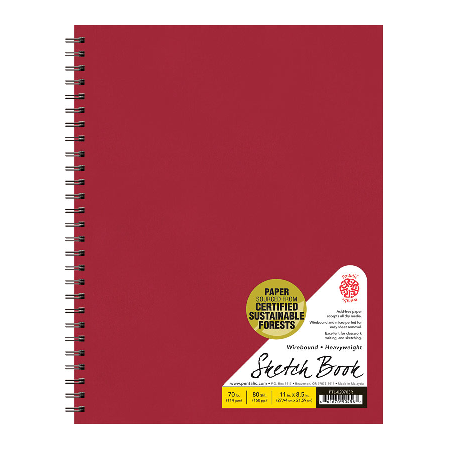 "Cover Image For Pentalic Red 11"" x 8.5"" 70lb. Wirebound Sketchbook 80 Sheets"