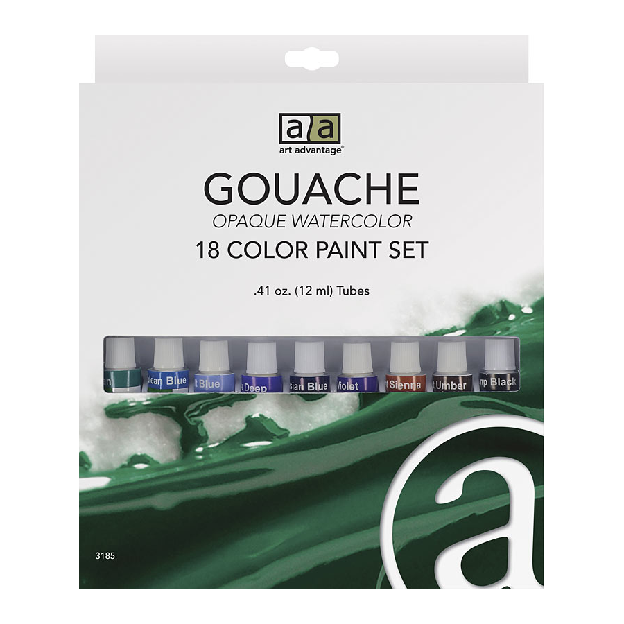 Image For Art Advantage 12 ml Gouache Paint 18 Color Set