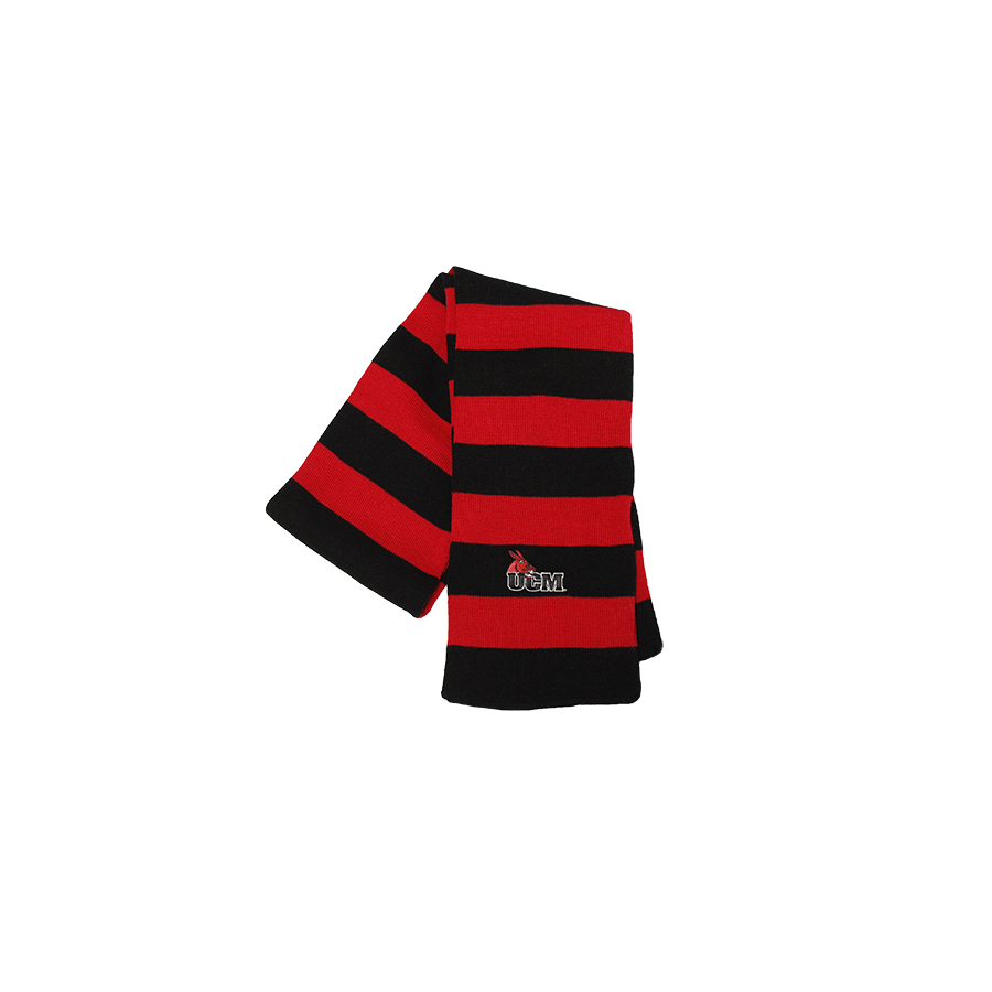 Image For UCM BLACK AND RED STRIPPED SCARF