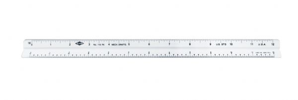 "Image For 12"" High Impact Plastic Mechanical Drafting Triangular Scale"