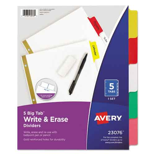 Image For Avery Big Tab™ Write & Erase Paper Dividers, 5 Tab